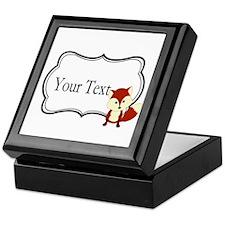 Personalizable Red Fox on Black Keepsake Box