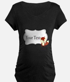 Personalizable Red Fox on Black Maternity T-Shirt