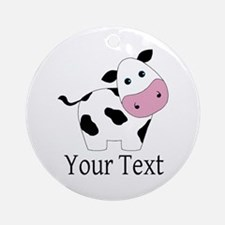 Personalizable Black and White Cow Ornament (Round