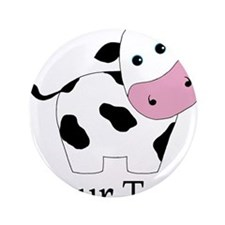 """Personalizable Black and White Cow 3.5"""" Button (10"""