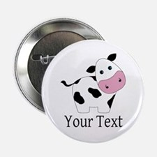 "Personalizable Black and White Cow 2.25"" Button"