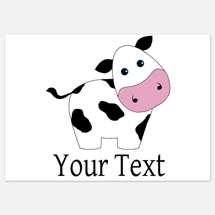 Personalizable Black and White Cow Invitations