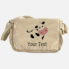 Personalizable Black and White Cow Messenger Bag