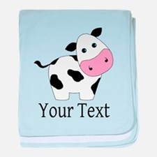 Personalizable Black and White Cow baby blanket