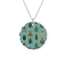 Scarab Beetle Pattern Blue and Brown Necklace