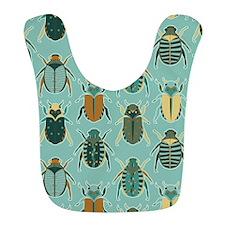 Scarab Beetle Pattern Blue and Brown Bib