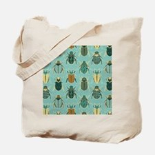 Scarab Beetle Pattern Blue and Brown Tote Bag