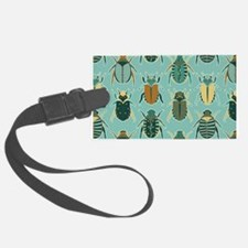 Scarab Beetle Pattern Blue and Brown Luggage Tag