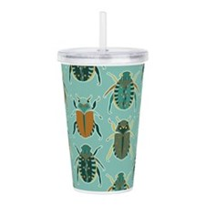 Scarab Beetle Pattern Blue and Brown Acrylic Doubl