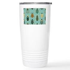 Scarab Beetle Pattern Blue and Brown Travel Mug