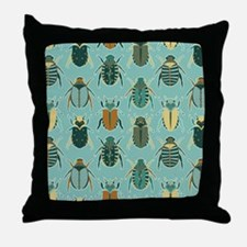 Scarab Beetle Pattern Blue and Brown Throw Pillow