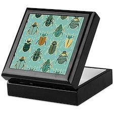 Scarab Beetle Pattern Blue and Brown Keepsake Box