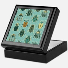 Scarab Beetle Pattern Blue and Brown Keepsake Box