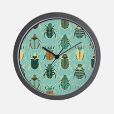 Scarab Beetle Pattern Blue and Brown Wall Clock