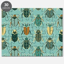Scarab Beetle Pattern Blue and Brown Puzzle