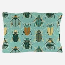 Scarab Beetle Pattern Blue and Brown Pillow Case