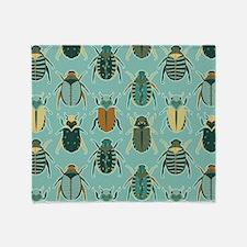 Scarab Beetle Pattern Blue and Brown Throw Blanket