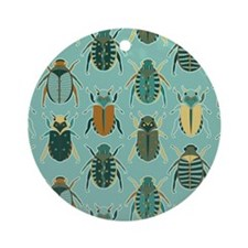 Scarab Beetle Pattern Blue and Brown Ornament (Rou