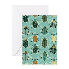 Scarab Beetle Pattern Blue and Brown Greeting Card
