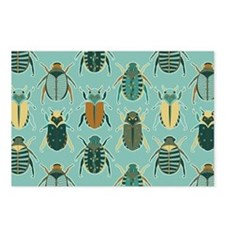 Scarab Beetle Pattern Blue and Brown Postcards (Pa
