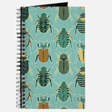 Scarab Beetle Pattern Blue and Brown Journal
