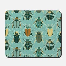 Scarab Beetle Pattern Blue and Brown Mousepad