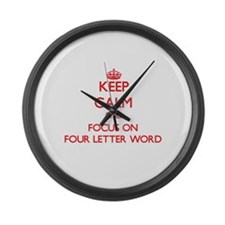 Funny Four letter word Large Wall Clock