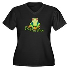 Frogs are Nice Women's Plus Size V-Neck Dark T-Shi