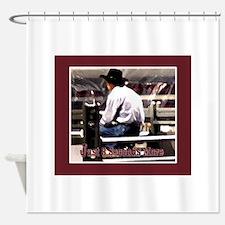Cute Bull riding Shower Curtain