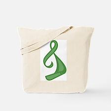 """Green Ribbon Twist"" Tote Bag"