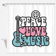 Unique Peace love music Shower Curtain