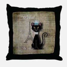 Unique Eiffel tower cats Throw Pillow