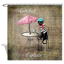 Cute Cat artists Shower Curtain