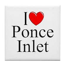 """""""I Love Ponce Inlet"""" Tile Coaster"""