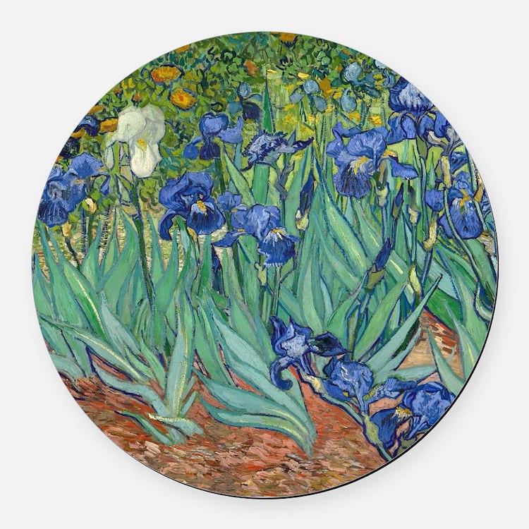 Irises by Vincent Van Gogh Round Car Magnet