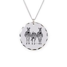 Zebra Power Necklace Circle Charm