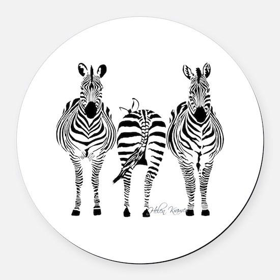 Zebra Power Round Car Magnet