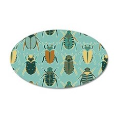 Scarab Beetle Pattern Blue and Brown Wall Decal