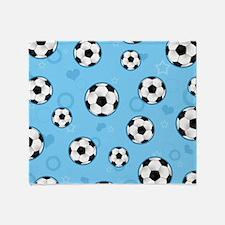 Cute Soccer Ball Print - Blue Throw Blanket