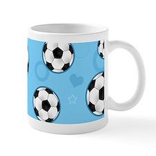 Cute Soccer Ball Print - Blue Mugs