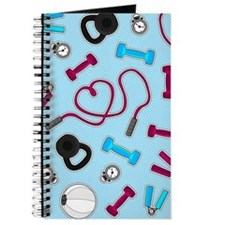 Fitness Love Pattern Blue and Purple Journal