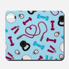 Fitness Love Pattern Blue and Purple Mousepad