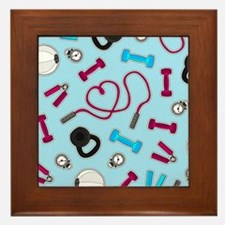 Fitness Love Pattern Blue and Purple Framed Tile