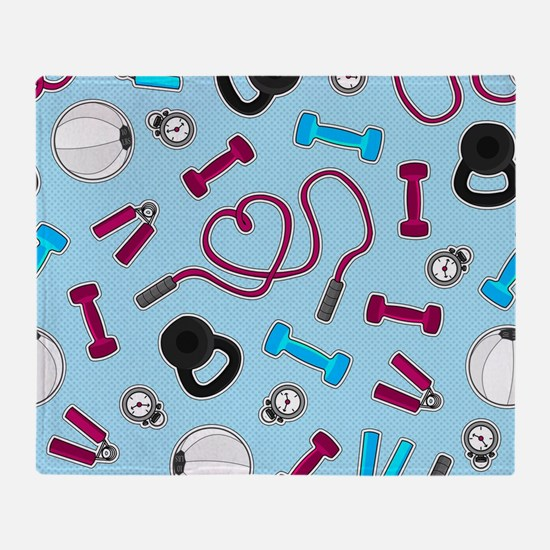 Fitness Love Pattern Blue and Purple Throw Blanket