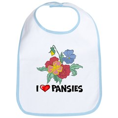 I Love Pansies Bib