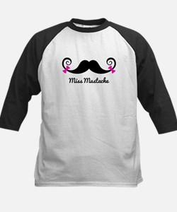Miss Mustache design with pink bows Baseball Jerse