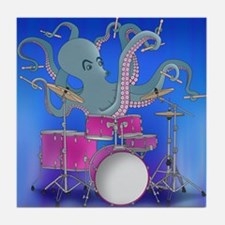 Octopus Playing Drums - Blue Tile Coaster
