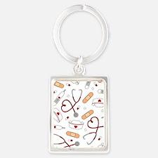 Cute Nurse Love Pattern White Keychains