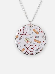 Cute Nurse Love Pattern White Necklace