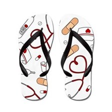 Cute Nurse Love Pattern White Flip Flops